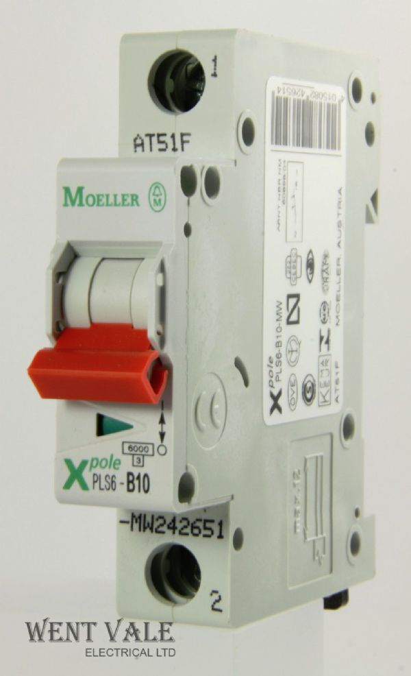 Moeller X Pole - PLS6-B10-MW - 10a Type B Single Pole MCB New